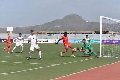 Aizawl: Players in action during an I-League match between Indian Arrows and Aizawl FC at the Rajiv Gandhi Stadium in Aizawl on Feb 23, 2018. (Photo: IANS)