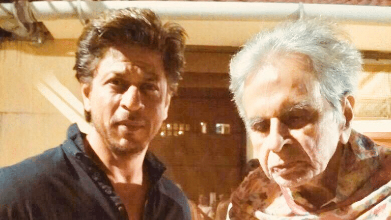 Shah Rukh Khan visited Dilip Kumar at his residence.