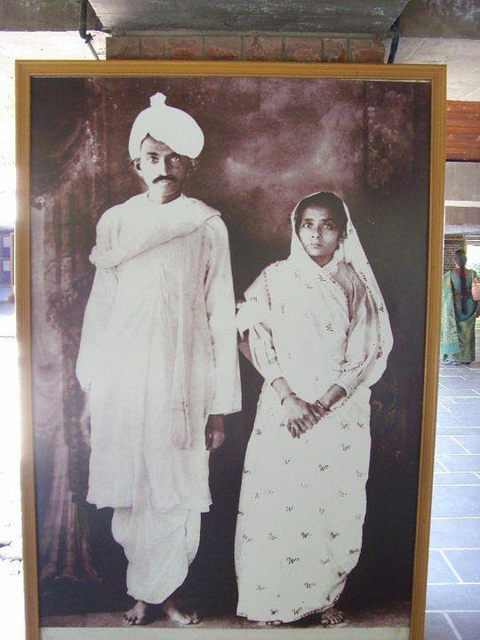 A young Mahatma Gandhi and Kasturba.