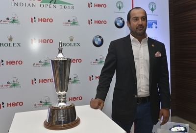New Delhi: Indian golfer Shiv Kapur unveils the Indian Open 2018 trophy in New Delhi on Feb 13, 2018. (Photo: IANS)