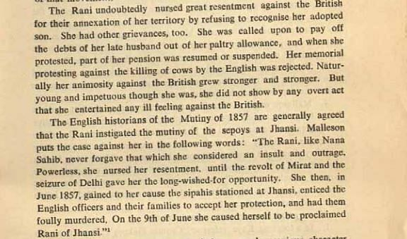 Rani Lakshmibai's role in the Sepoy Mutiny.