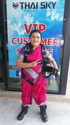 Pune adventurist Shital Rane-Mahajan prepares to skydive in Nav-wari Sari in Thailand.