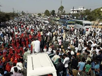 Farmers staging protest in different parts of jaipur