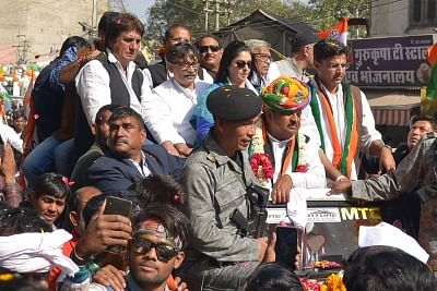 Ajmer: UP Congress chief Raj Babbar, actress-turned-politician Nagma and Rajasthan Congress chief Sachin Pilot during a roadshow ahead of  Ajmer by-election on Jan 27, 2018. (Photo: Shaukat Ahmed/IANS)