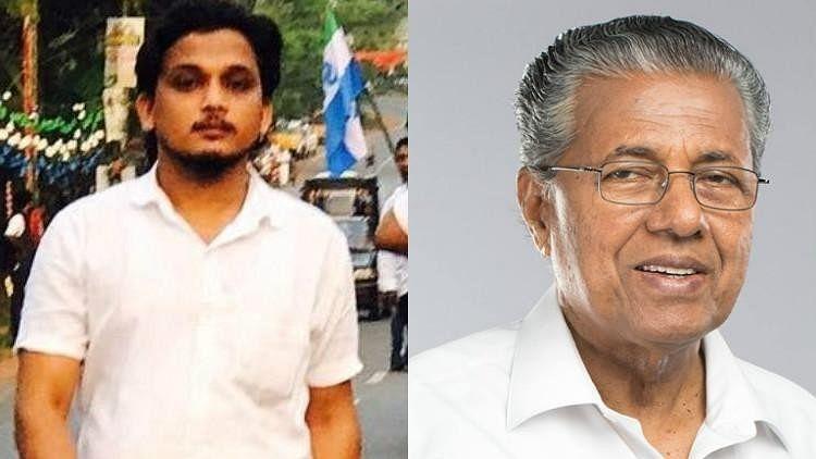 Congress youth leader Shuhaib (L) and Kerala CM Pinarayi Vijayan.