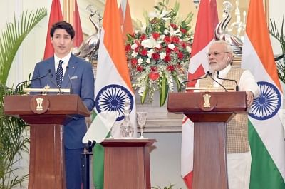 New Delhi: Prime Minister Narendra Modi and Canadian Prime Minister Justin Trudeau during the joint press statement at Hyderabad House, in New Delhi on Feb 23, 2018. (Photo: IANS/PIB)
