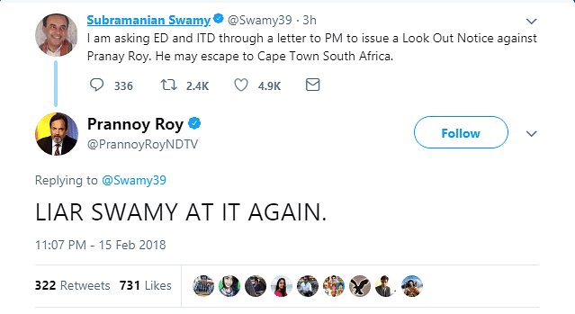 'Liar Swamy At It Again': NDTV's Prannoy Roy Loses It At BJP MP