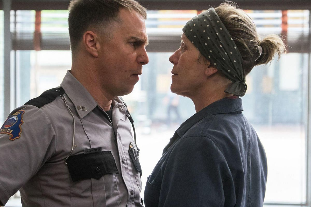 Sam Rockwell and Frances McDormand in a still from <i>Three Billboards outside Ebbing, Missouri</i>.