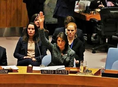 United States Permanent Representative and cabinet member Nikki Haley votes in the United Nations Security Council on Feb. 24, 2018, for a resolution demanding a ceasefire in Syria. (Photo: US Mission/IANS)