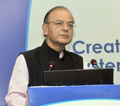 New Delhi: Union Finance and Corporate Affairs Minister Arun Jaitley addresses at the 4th Annual Pension Conference on the theme of 'Creating an Inclusive and Sustainable Pension System in India: Opportunities and Challenges', organised by the Pension Fund Regulatory and Development Authority (PFRDA), in New Delhi on Feb 28, 2018. (Photo: IANS/PIB)