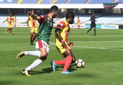Kolkata: Players in action during an I-League match between Gokulam Kerala FC and Mohun Bagan AC at the Salt Lake Stadium in Kolkata on Feb 12, 2018. (Photo: IANS)