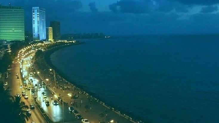 A view of the sea from Mumbai.