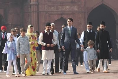 New Delhi: Canadian Prime Minister Justin Trudeau and his wife Sophie Gregoire Trudeau visit the Jama Masjid along with their children Ella-Grace Margaret Trudeau, Xavier James Trudeau and Hadrien Trudeau in New Delhi on Feb 22, 2018. (Photo: IANS)