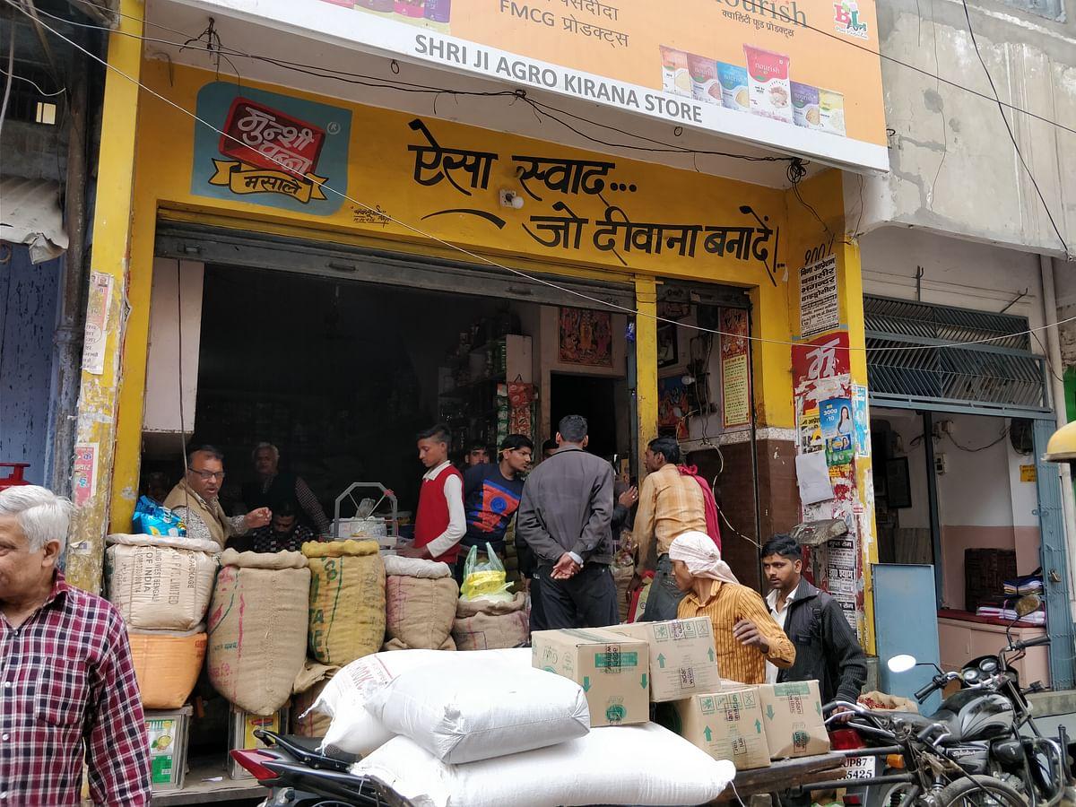 Hindu traders in a Kasganj market.