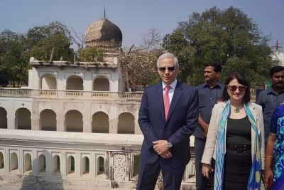 Hyderabad: US Ambassador to India Kenneth I. Juster during his visit to the Qutub Shahi Tombs in Hyderabad on Feb 28, 2018. (Photo: IANS)