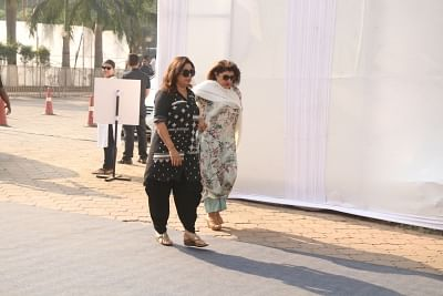 Mumbai: Filmmaker Farah Khan attend the funeral of late actress Sridevi in Mumbai on Feb 28, 2018. Veteran actress Sridevi passed away following accidental drowning in a bathtub in her hotel room in Dubai on Saturday night. She was 54. The actress was in Dubai to attend the marriage function of actress Sonam Kapoor