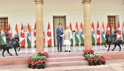 New Delhi: Prime Minister Narendra Modi with Canadian Prime Minister Justin Trudeau during a meeting at Hyderabad House, in New Delhi on Feb 23, 2018. (Photo: IANS/PIB)