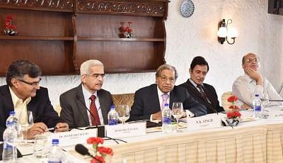 New Delhi: Chairman of the 15th Finance Commission N.K. Singh addresses the Conference of Senior Editors, in New Delhi on Feb 28, 2018. (Photo: IANS/PIB)