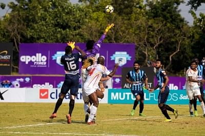 Panchkula: Players in action during an I-League match between East Bengal and Minerva Punjab FC at the Tau Devi Lal stadium in Panchkula, Haryana on Feb 13, 2018. (Photo: IANS)
