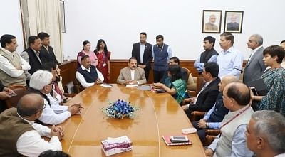 New Delhi: A delegation of Delhi Government employees meet MoS for Development of North Eastern Region (I/C), Prime Minister