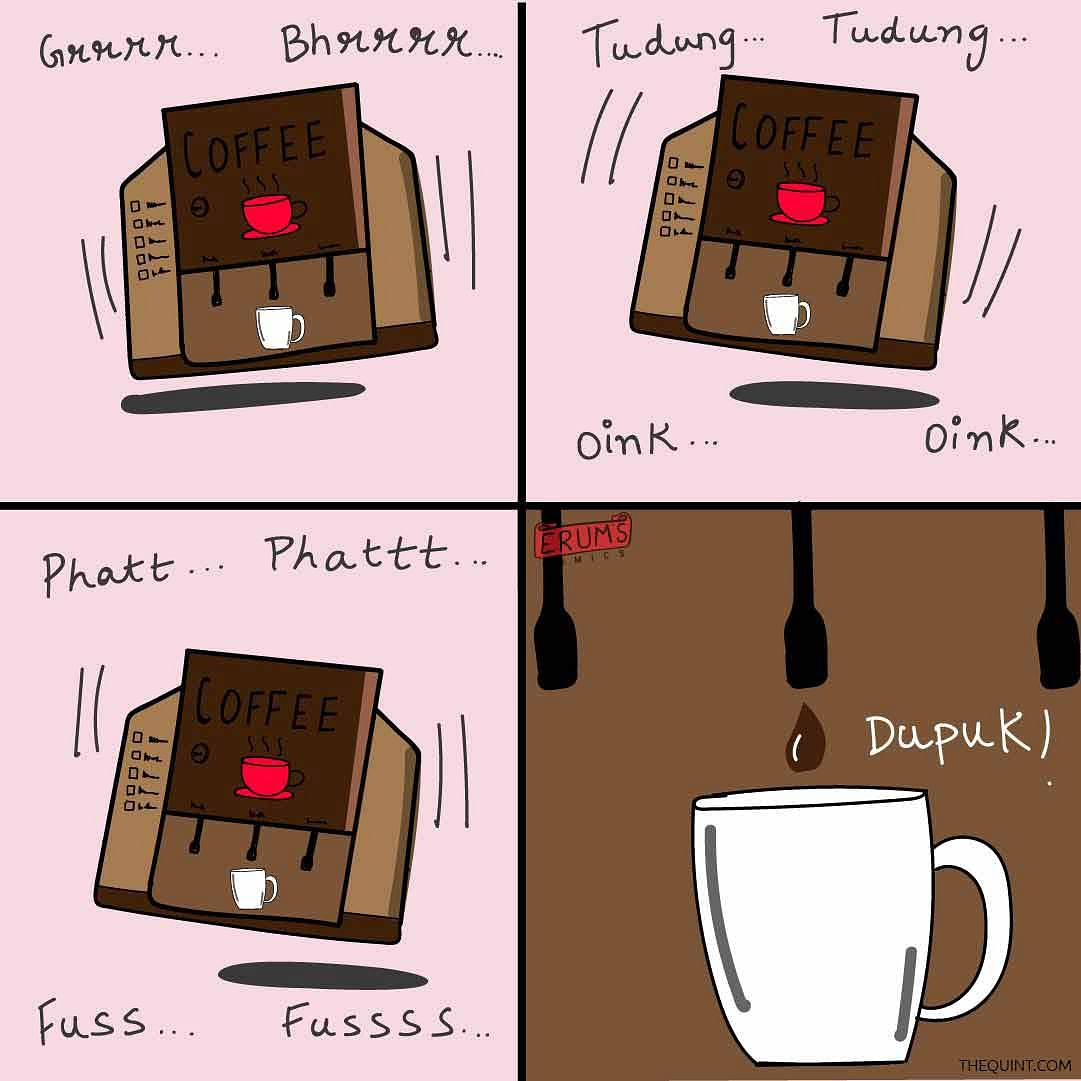 Erum's Comics: When We Tried the New Office Coffee Machine