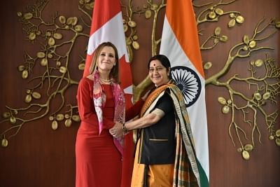New Delhi: External Affairs Minister Sushma Swaraj meets Canadian Foreign Affairs Minister Chrystia Freeland in New Delhi on Feb 22, 2018. (Photo: IANS/MEA)