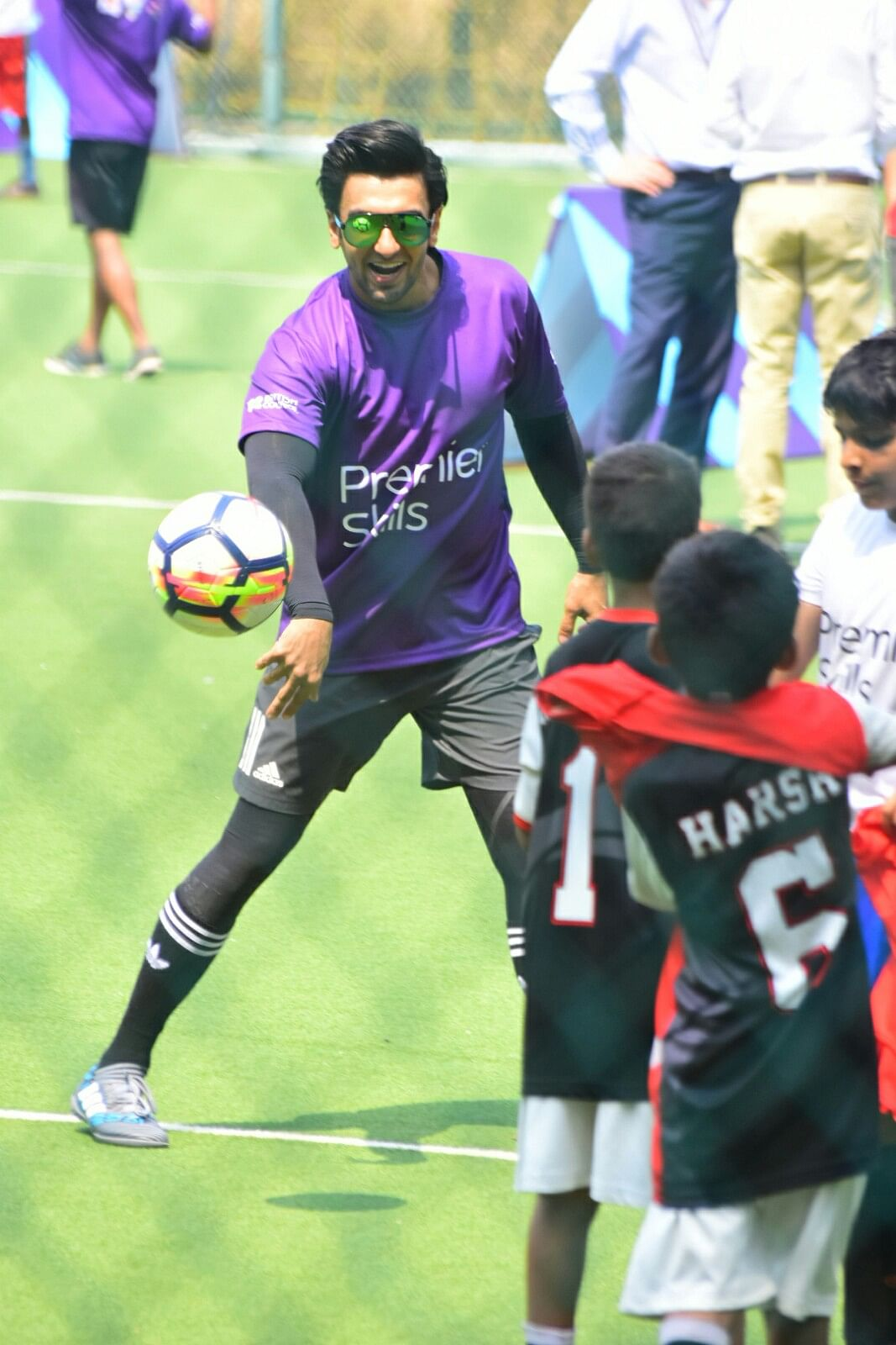 Ranveer Singh plays football on Friday.
