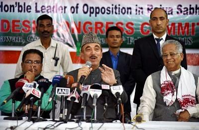 Guwahati: Congress leader Ghulam Nabi Azad addresses a press conference in Guwahati on Feb 25, 2018. (Photo: IANS)