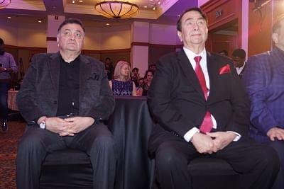 Mumbai: Actors Randhir Kapoor and Rishi Kapoor at Raj Kapoor Awards in Mumbai, on Feb 14, 2018. (Photo: IANS)