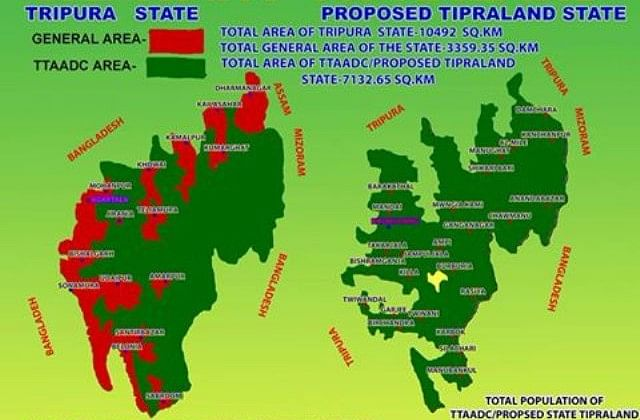 Map of TTAADC areas in Tripura