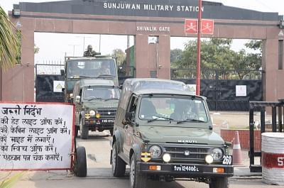 Jammu: Army personnel at Sunjuwan military station in Jammu on Feb 11, 2018. Security forces on Sunday gunned down one more militant who was holed-up inside an army camp here after a group of terrorists attacked the military station, killing five soldiers and a civilian on Saturday. According to defence officials, the number of militants killed in the attack has risen to four. (Photo: IANS)