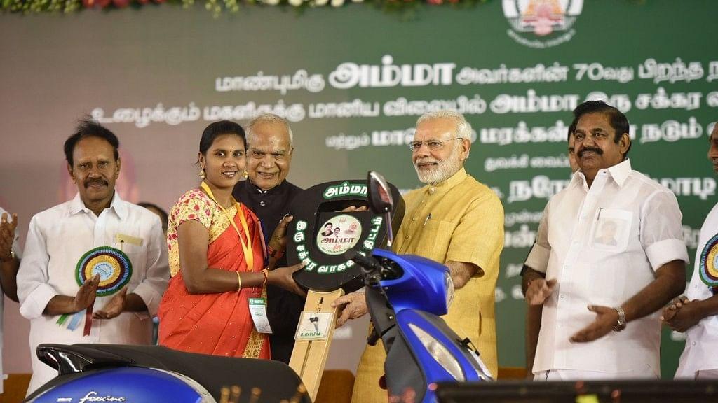 Modi Launches Amma Two-Wheeler Scheme, Plants Saplings in Chennai