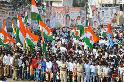 Bengaluru: Congress supporters during the third day of