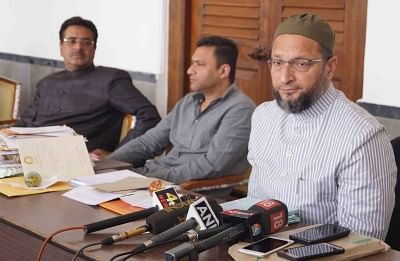 Hyderabad: All India Majlis-e-Ittehadul Muslimeen (AIMIM) chief Asaduddin Owaisi addresses a press conference in Hyderabad on Feb 13, 2018. (Photo: IANS)