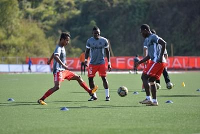 Aizawl: Aizawl FC players in action during a practice session ahead of their I-League match, in Aizawl on Jan 19, 2018. (Photo: IANS)