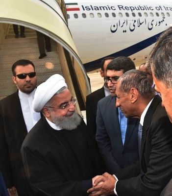 Hyderabad: Iranian President Hassan Rouhani being recived by Telangana Governor E.S.L. Narasimhan at Begumpet Airport in Hyderabad on Feb 15, 2018. (Photo: IANS)
