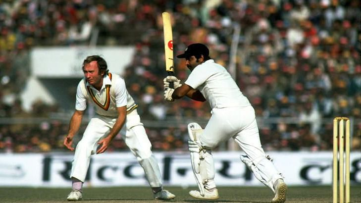 Viswanath playing his trademark wristy drive on the leg side against the touring English side.