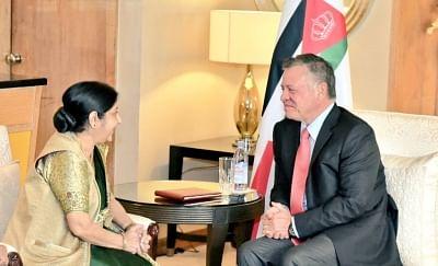New Delhi: External Affairs Minister Sushma Swaraj calls on King of Jordan Abdullah II bin Al-Hussein in New Delhi on Feb 28, 2018. (Photo: IANS/MEA)
