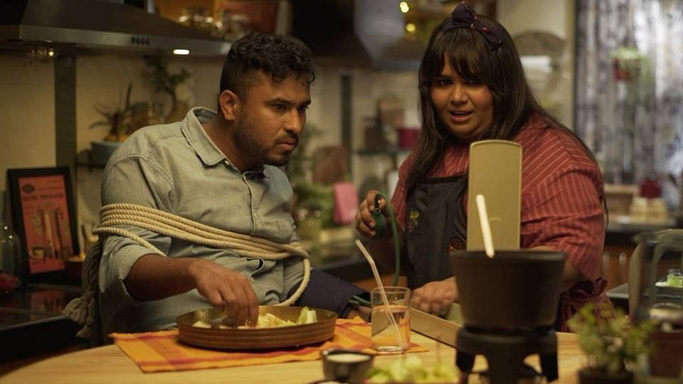 Sumukhi Suresh and Abish Mathew in an episode on <i>Beauty and the Feast</i>.