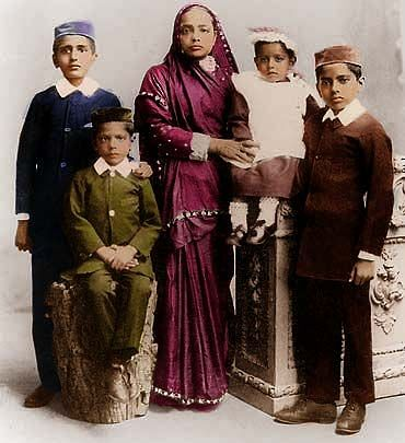 Kasturba Gandhi and her four sons.
