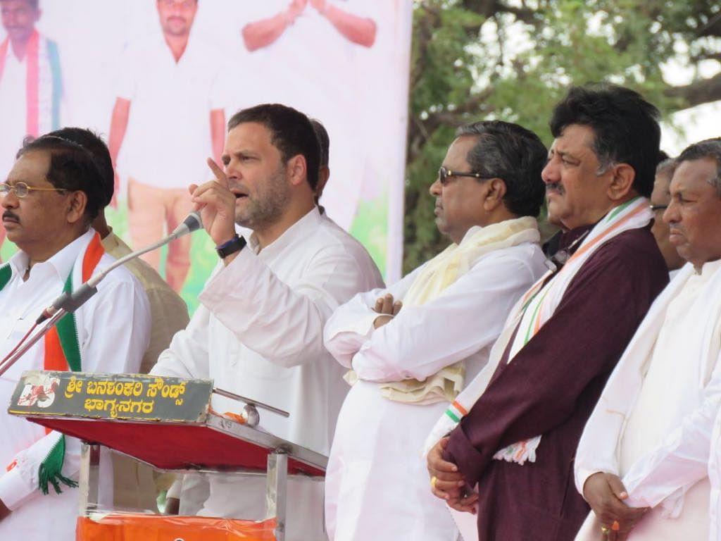 Siddaramaiah along with Rahul Gandhi during the North Karnataka rally.