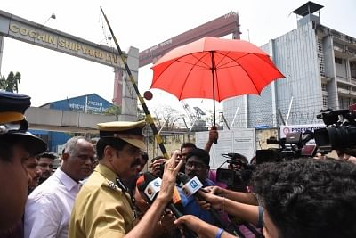 Kerala: Kochi City Police Commissioner MP Dinesh talks to press after five persons were killed and a dozen others injured in the blast inside an Oil and Natural Gas Corporation (ONGC) tanker at Cochin Shipyard in Kerala on Feb 13, 2018. (Photo: IANS)