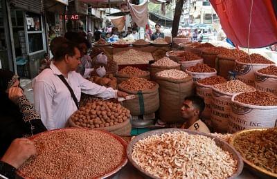 New Delhi: Dry fruits on sale at a shop in Khari Baoli whole sale market near Chandni Chowk, in New Delhi. (File Photo: IANS)