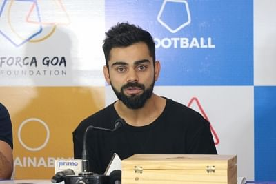 Margao: FC Goa co-owner Virat Kohli addresses during a Forca Goa Foundation programme in Fatodra, Margao of Goa on Feb 28, 2018. (Photo: IANS)