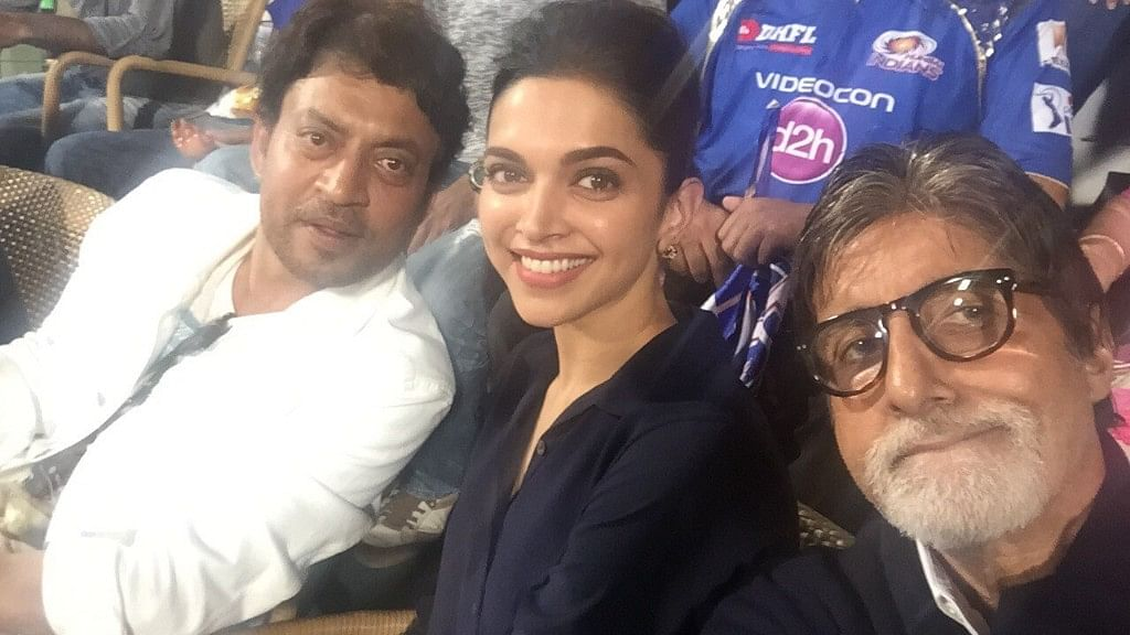 Irrfan Khan and Deepika Padukone with Amitabh Bachchan.