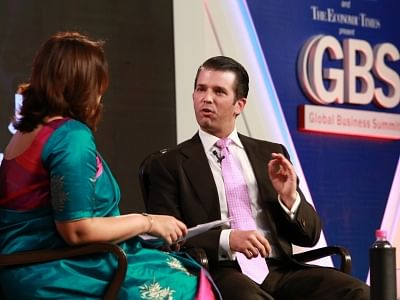 New Delhi: Trump Organisation Executive Vice President Donald Trump Junior at the 4th Global Business Summit in New Delhi on Feb 23, 2018. (Photo: Amlan Paliwal/IANS)