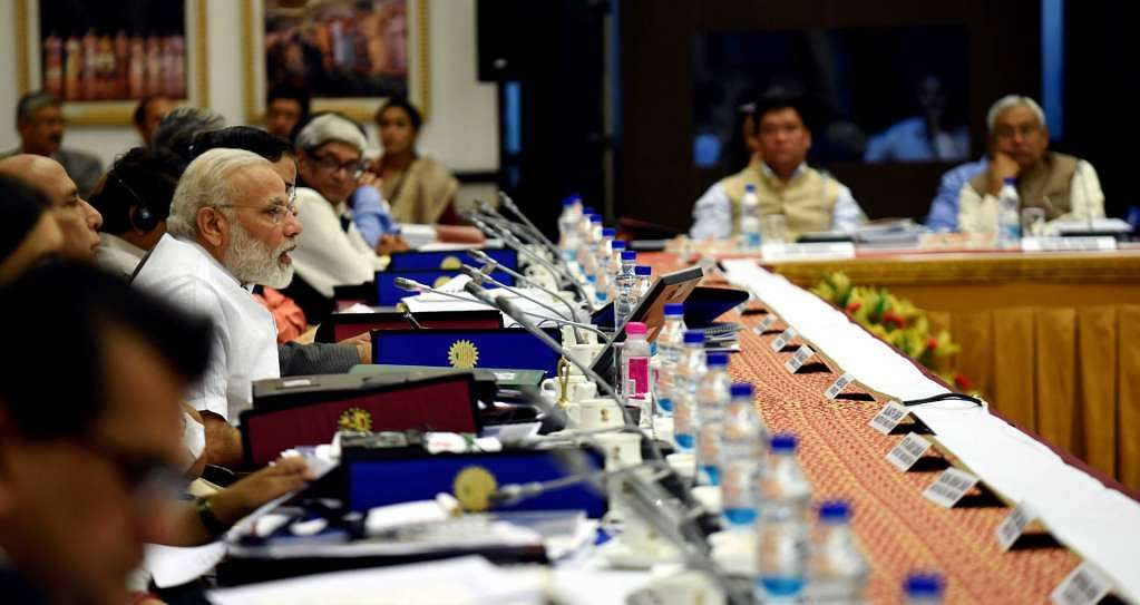 Prime Minister Narendra Modi chairs the Governing Council Meeting of the NITI Aayog, in New Delhi, on 23 April 2017.