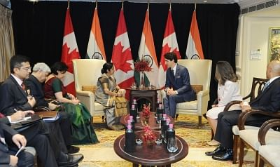 New Delhi: External Affairs Minister Sushma Swaraj meets Canadian Prime Minister Justin Trudeau in New Delhi on Feb 23, 2018. (Photo: IANS/MEA)