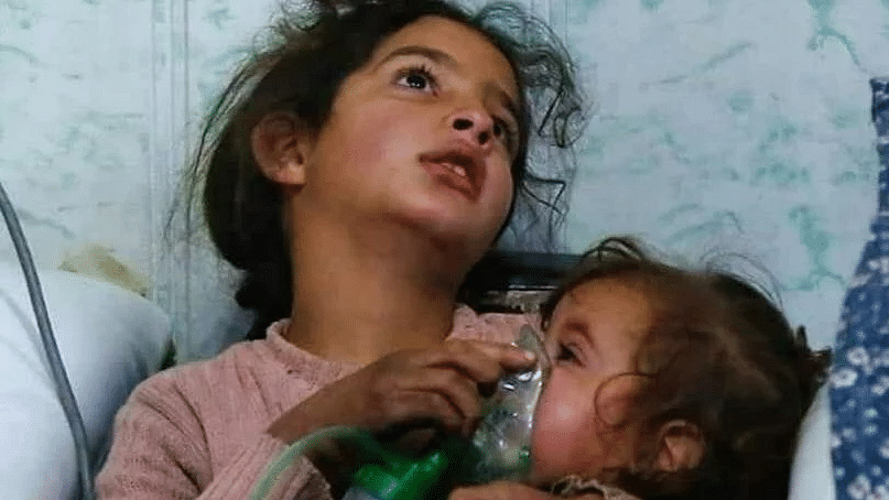 A photo of two child survivors of the bombing shared by a team of volunteers from Syria.