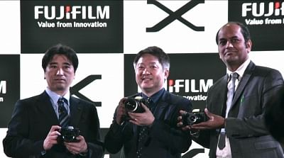 New Delhi: Fujifilm India MD Haruto Iwata and other officials during the launch of X-H1 camera in New Delhi on Feb 22, 2018. (Photo: IANS)